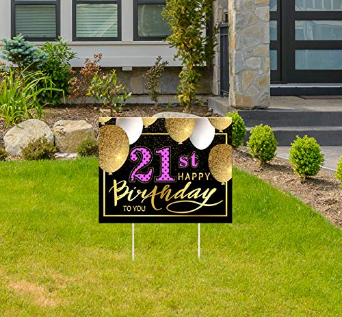 Haimimall Birthday Yard Signs 21 Birthday Yard Signs with Stakes for Girls Outdoor Lawn Decorations 21st Party Decorations 21st Birthday Decoration for Girls.