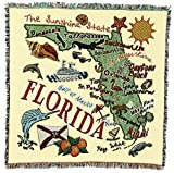 State of Florida - Lap Square Cotton Woven Blanket Throw - Made in The USA (54x54)