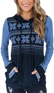 Macondoo Women's Long Sleeve Pocket Heart Print Sport Hoodie Blouse Sweatshirts