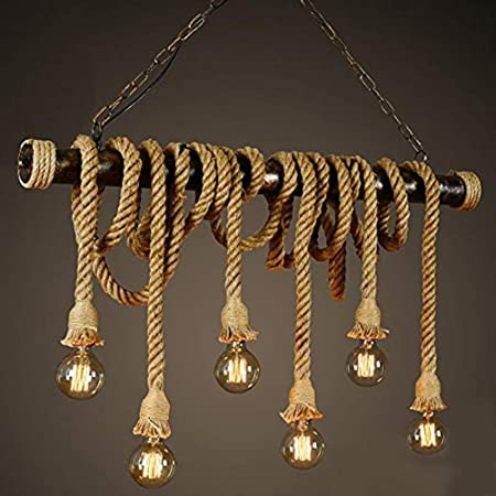 SUSUO Lighting Retro 6 Lamp Hemp Rope Chandelier Twisted Flaxen Rope Country Style Pendant Lights (#1)
