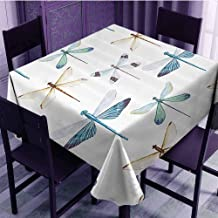 EDZEL Rectangular Table Cover, Excellent Durability, Collection of Regularly Dragonfly Pattern Short Lives Symbol Composition of Bugs, 54