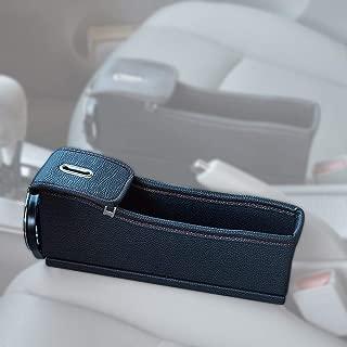 Blueshyhall PU Leather Car Seat Catcher, Car Seat Filler Gap Space Storage Box Bottle Cup Holder Coin Collector, Black, (1Pcs, Left)