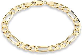 Miabella 18K Gold Over Sterling Silver Italian 7mm Solid Diamond-Cut Figaro Link Chain Bracelet for Men 7, 7.5, 8, 8.5, 9 ...