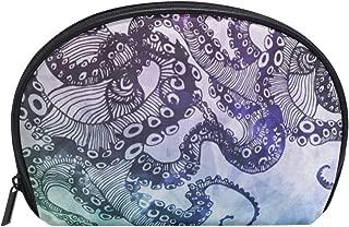 Bstract Octopus Kraken Half Moon Cosmetic Makeup Toiletry Bag Pouch Travel Handy Shell Purse Organizer Storage Beauty Bag Holder for Women Girls