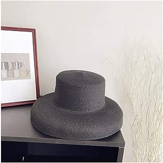 Hats Simple Temperament Sun Hat Hat Female Summer Beach Hat Fashion (Color : Grey, Size : 56-58cm)