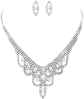 """Rosemarie Collections Women's Draped Rhinestone Statement Necklace and Hypoallergenic Post Earrings Set, 14""""-19"""" with 5"""" E..."""