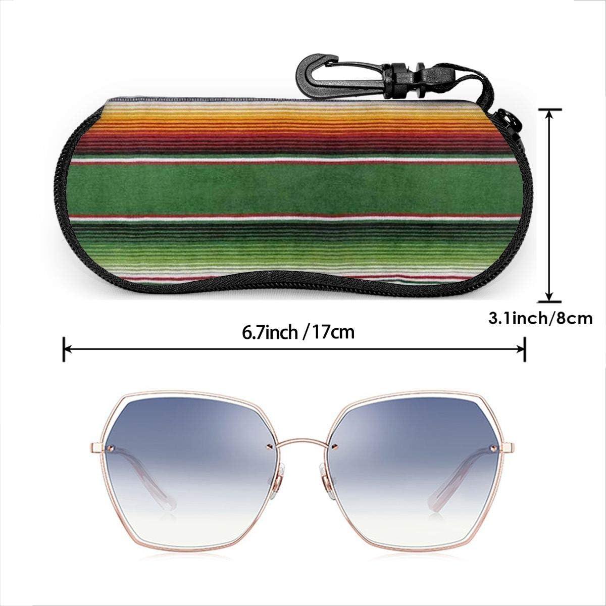 Mexican Blanket Sunglasses Soft Case Ultra Light Neoprene Zipper Eyeglass Case With Key Chain