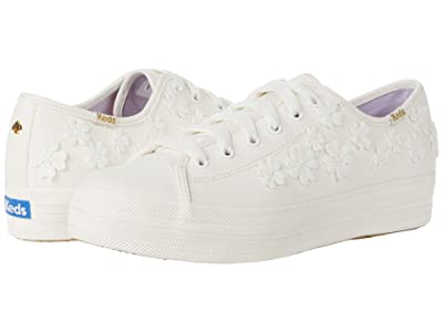 Keds x kate spade new york Triple Kick Woven Flowers (White Textured Canvas) Women