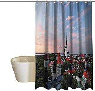 EwaskyOnline Wanderlust Decor Collection Flower Shower Curtain Sunset Sun Lights Coloring Clouds Over Old City Center of Tallinn Estonia Scenery Picture Mens Shower Curtain W72 x L84 Blue