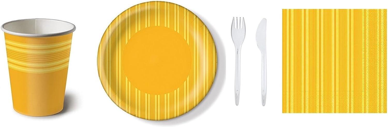 Paper + Design Partyset Streifen gelb 500-teilig 100 Pappteller, 100 Pappbecher, 100 Servietten 40x40cm, 100 Gabeln und 100 Messer transparent