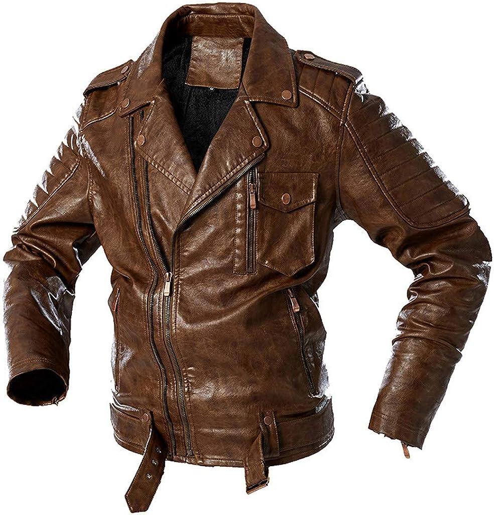 Men Leather Jackets,Vintage Classic Leather Zip Up Biker Bomber Jacket V1750