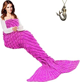 JR.WHITE Mermaid Tail Blanket Kids and Adults, Hand Crochet Snuggle Mermaid, All Seasons Seatail Sleeping Bag Blanket (Adult-Scale-Pink)
