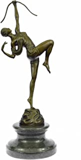 Handmade European Bronze Sculpture Signed Original American Art Fisher Diana the Huntress Figurine Bronze Statue -YRD-1243-Decor Collectible Gift