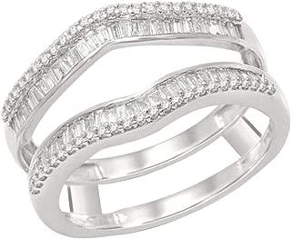 OMEGA JEWELLERY 1/2 Ct Round & Baguette Shape Natural Diamond 14K White Gold Enhancer Wrap Guard Ring