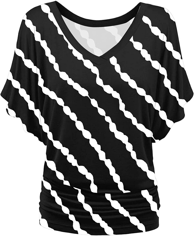 Aukbays T-Shirt for Women Women's Stripe Short Sleeve Boat Neck V Neck Dolman Top with Side Shirring Summer Tops Tees