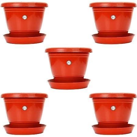Kraft Seeds Plastic Gardening Pot, Red , 18 cm, Set of 5