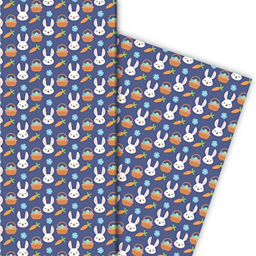 Kartenkaufrausch Niedliches Oster Geschenkpapier Set mit Hasen und Osterkorb für liebevolle Geschenkverpackung 32 x 48cm, 4 Bögen zum Einpacken für Geburtstage, Geburt, Ostern, blau