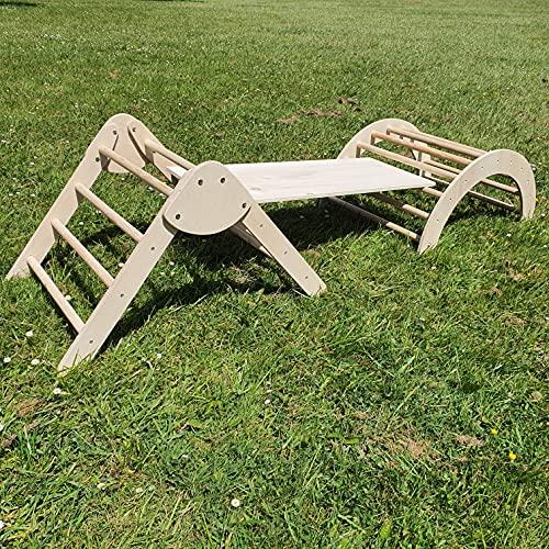 Set Pikler, triangulo plegable, rampa y arco Pikler. Fabricación artesanal en España.