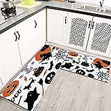 Alfombras Cocina Lavable Antideslizante Halloween Set Murciélagos Araña Calabazas Bruja Alfombrilla de Goma Alfombra de Baño