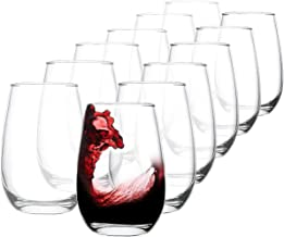 Stemless Wine Glasses Set of 12, 14oz Wine Tumbler Cabernet/Merlot, Durable Glassware, Dishwasher Safe, Lead Free
