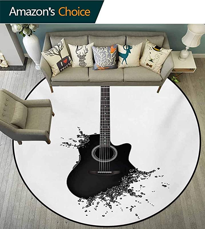 RUGSMAT Guitar Anti Skid Area Rug Monochrome Musical Instrument With Strings Acoustic Color Splashes Creative Outlet Green Soft Area Rugs Round 31 Inch Black White