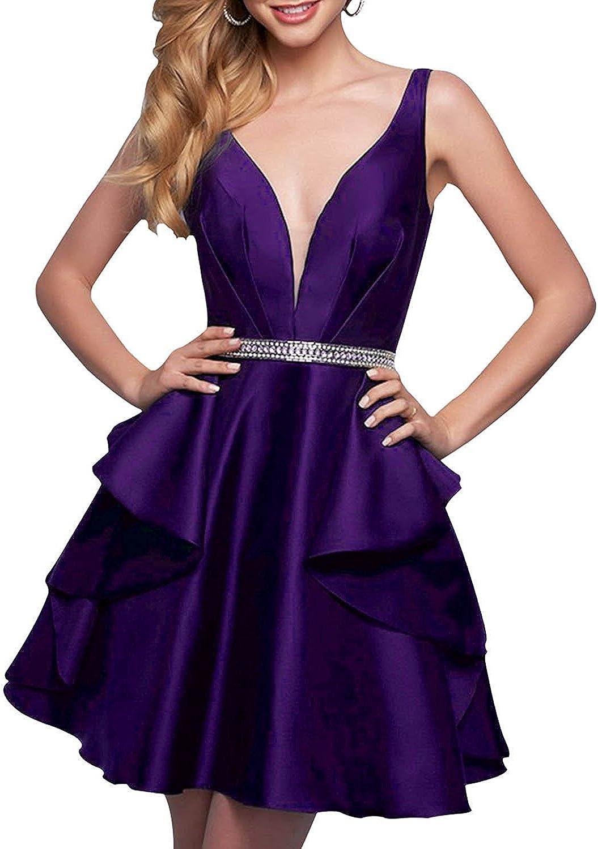 Dannifore Deep VNeck Satin Homecoming Dresses Beaded Short Party Evening Dress Backless
