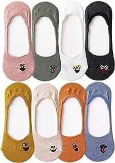 QZDADA, 8 pares Calcetines de mujer sin espectáculo, Calcetines de algodón invisibles de corte bajo Antideslizante, Emoji bordado casual Calcetín para niñas adolescentes