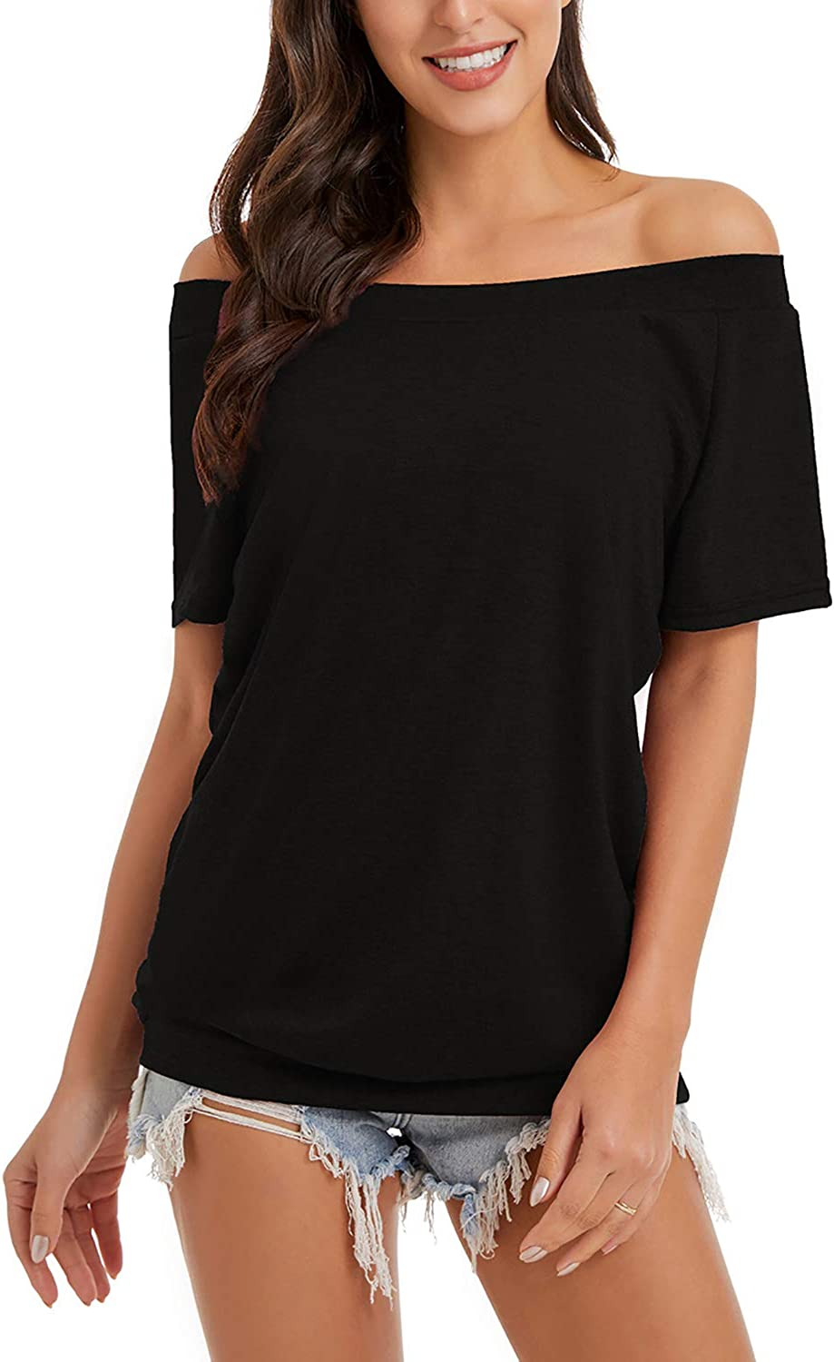 FEKOAFE Women's Summer Sexy Off The Shoulder Tops Casual Short Sleeve Shirts