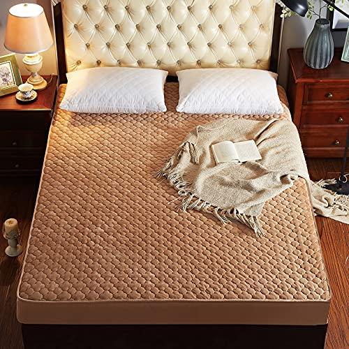 NHhuai Protector de Colchón | Capa Superior de algodón Transpirable Protector de colchón de una Pieza de Terciopelo Cristal Antideslizante