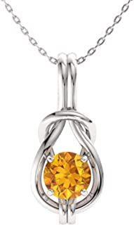 Natural and Certified Gemstone Infinity Knot Solitaire Necklace in 14k White Gold | 0.37 Carat Pendant with Chain