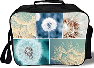 Dandelion 3D Print Insulated Lunch Bag,Blooming Dandelion Flowers Fluffy Soft Purity Fragrance Natural Organic Color Collage,for Work/School/Picnic,Blue
