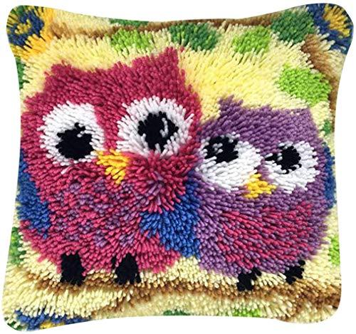IDO Latral - Kit de cojín de gancho, kit de gancho para adultos para niños, funda de almohada decorativa bordada, punto de cruz, manualidades para el hogar, sofá, decoración de muebles (búho)