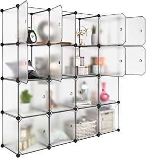 LANGRIA 16 Storage Cube Organizer Plastic Cubby Shelving Drawer Unit, DIY Modular Bookcase Closet System Cabinet with Translucent Design for Clothes, Shoes, Toys (White)