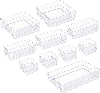 TrendGate 10 Pièces Organiseurs de Tiroir, 4 Tailles Boîtes de Rangement en Plastique Organisateu pour Cosmétiques/Les Cui...