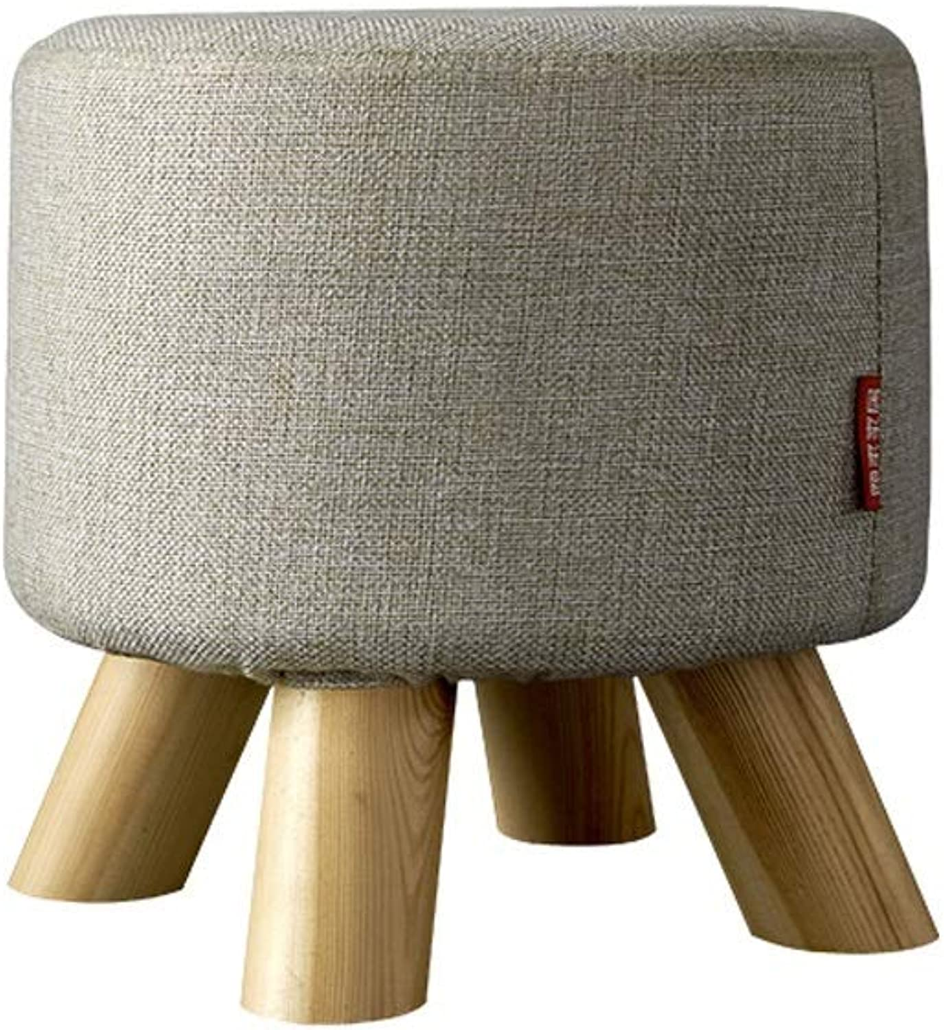 LifeX Houndstooth Style Entrance Change shoes Bench Living Room Round Sofa Stool Wooden Fabric Stool Cotton and Linen Seat Kitchen Low Chair Makeup Stool (Dia29H29CM) (color   Style B)