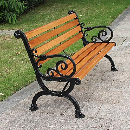 HJUYV-ERT Porche Banco de jardín Banco de Parque Sillones al Aire Libre, Patas de Hierro Fundido y Madera, Tabla para Sentarse, Banco de Hierro con Respaldo y apoyabrazos