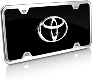 Toyota Logo Black Acrylic License Plate with Chrome Frame Kit