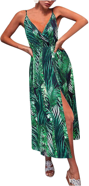ManxiVoo Women Deep V Neck Plus Size Spaghetti Strap Sleeveless Floral Maxi Bohemian Split Long Dress