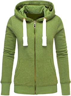 Women Hoodies Sweatshirt Coat, Ladies Solid Long Sleeve Zipper Pocket Pullover Outwear