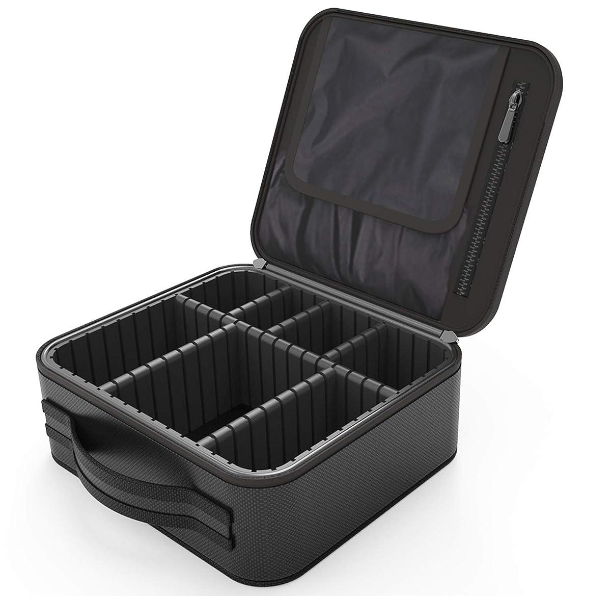 トライアスロン透ける苦しみRegalll 便携式 プロ用 メイクボックス 高品質 收納抜群 大容量 化粧バッグ 置き方が調整できる 旅行 家用に大活躍な化粧箱 (黑)