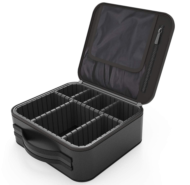 設計驚大胆Regalll 便携式 プロ用 メイクボックス 高品質 收納抜群 大容量 化粧バッグ 置き方が調整できる 旅行 家用に大活躍な化粧箱 (黑)