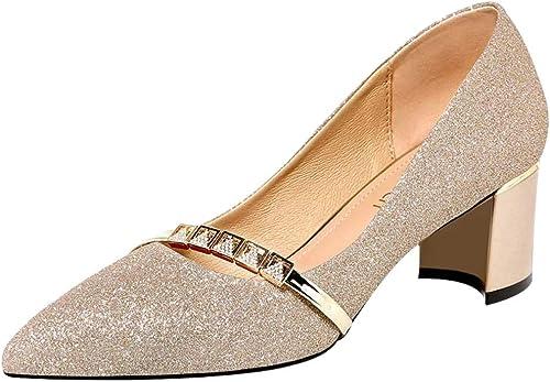 AJUNR 5.6Cm zapatos De Tacon Alto zapatos De mujer zapatos Cuchara 100 Juegos Simple