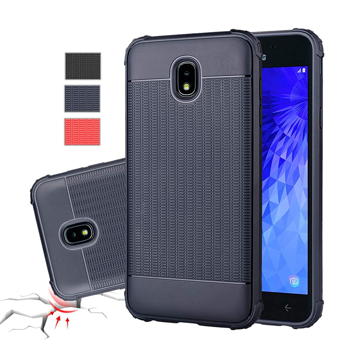 Galaxy J7 2018 Case,Galaxy J7 Refine Case,Galaxy J7 Star Case,J7 Crown Case,Galaxy J7 V J7V 2nd Gen Case,J7 Aura Case,Rebex Flexible and Durable Shock Thin Absorption Cover Protective (Navy)