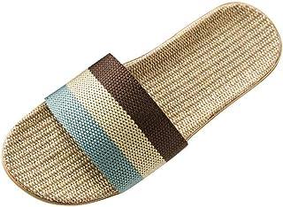 SONGYU Pantoufles d'été antidérapantes pour Hommes Dames Filles, Tongs en Lin à la Mode, Chaussures de Plage à Bout Ouver...