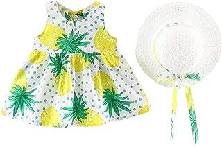 Fairy Baby Toddlers Baby Girls Summer Dress Floral Fruit Vest Dress Beach Sundress+Hat Set