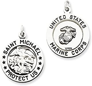 Sterling Silver Antiqued Reversible Round Saint Michael Marine Corp Medal Pendant Length 26mm