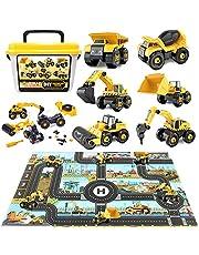 Paochocky 6 i 1 gör-det-själv byggfordon leksaker lekset, montera leksaker med lekmatta, ta isär ingenjörsvagnar med bärväska fantastiska pedagogiska presentleksaker för pojkar och flickor ålder 3+