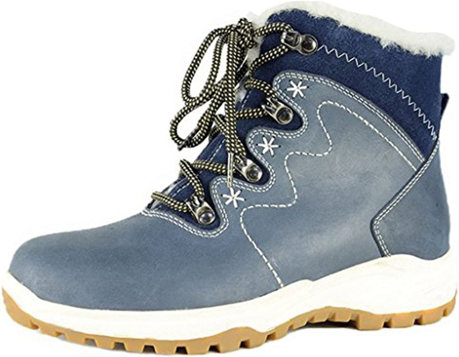 BULL TITAN Women's Genuine Leather Non-Slip Fur Lined Winter Boots Navy