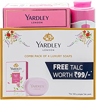 Yardley London English Rose Luxury Soap for Women, 100g (Pack of 4) + Yardley London English Rose Perfumed Talc for Women,...