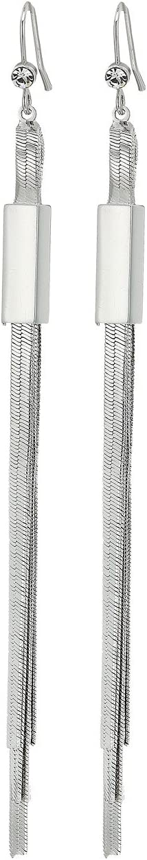 Multi Flat Slinky Chain Linear Earrings